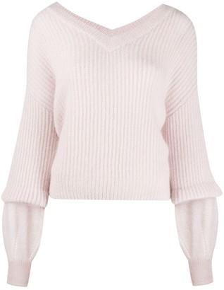 Pinko Layered-Sleeve Ribbed Sweater