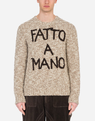 "Dolce & Gabbana Round-Neck Sweater With Hand-Embroidered Fatto A Mano"" Detailing"
