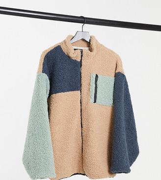 Daisy Street Plus oversized jacket in colour block fleece