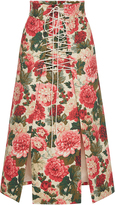 Vilshenko Anfisa Floral A Line Lace Up Skirt