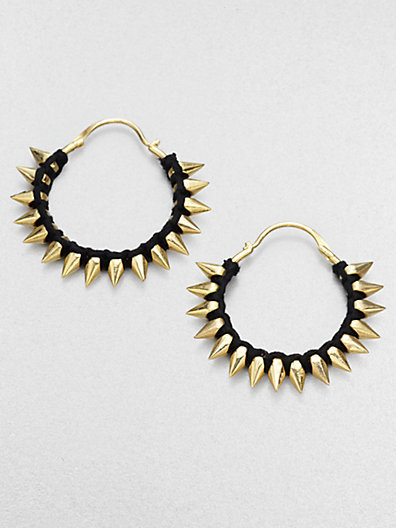 A.L.C. Thread Wrapped Spiked Hoop Earrings