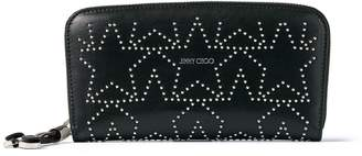 Jimmy Choo FILIPA Black Leather Wallet with Silver Mini Studs in a Star Shape