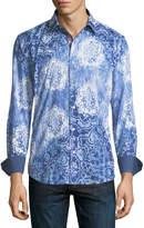 Bugatchi Shaped-Fit Heathered Blue Pattern Print Sport Shirt