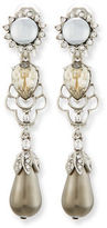 Oscar de la Renta Linear Pearly Drop Earrings