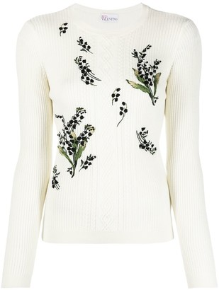 RED Valentino Floral-Knitted Jumper