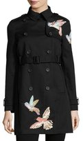 RED Valentino Double-Breasted Trench Coat w/ Embroidered Hummingbirds, Nero