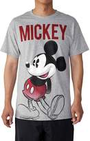 Disney Mens Mickey Mouse T-Shirt Front and Back Graphic Print Grey