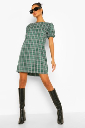 boohoo Check Print Puff Sleeve Shift Dress