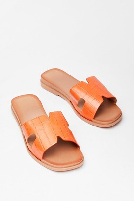 Nasty Gal Womens Step Out Croc Flat Sandals - Orange