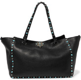 Valentino The Rockstud Large Textured-leather Trapeze Bag - Black