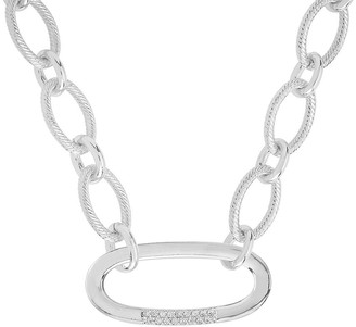 Sterling Forever Rhodium Plated Pave CZ Illusion Lock Chain Link Necklace