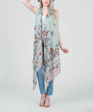 Frumos Women's Dresswear Vests Sage - Sage Floral Open Vest - Women & Plus