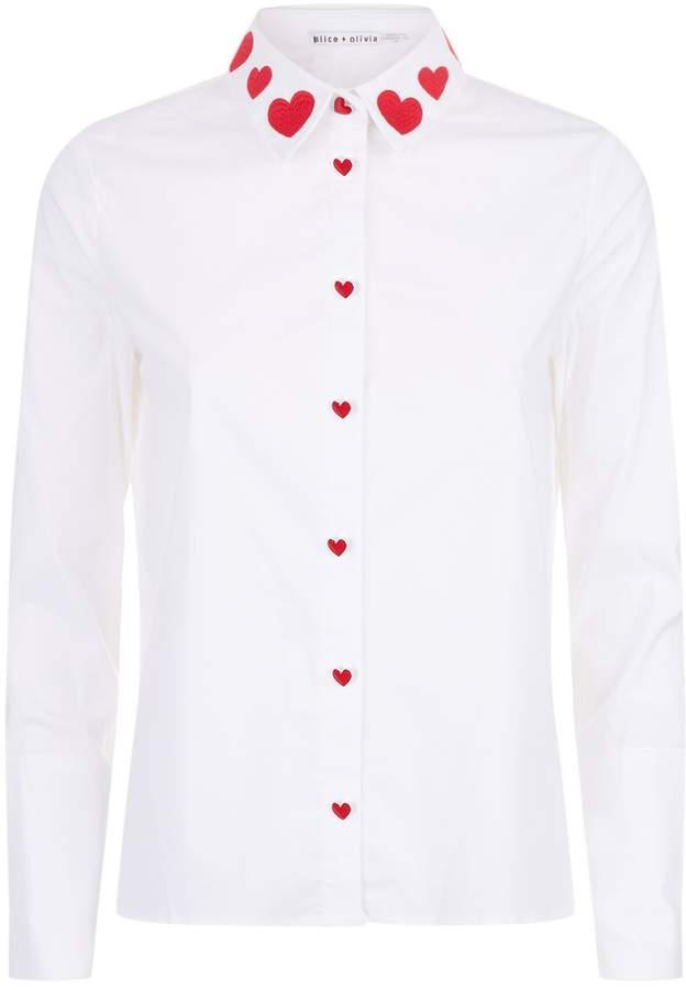 Alice + Olivia Faye Heart Collar Shirt