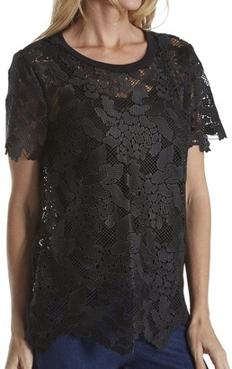 Three Dots Women's Floral Lace Tee