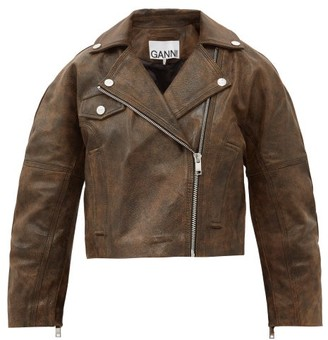 Ganni Oversized Leather Jacket - Brown