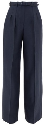 Gabriela Hearst Vargas Wide-leg Wool-blend Pique Suit Trousers - Navy