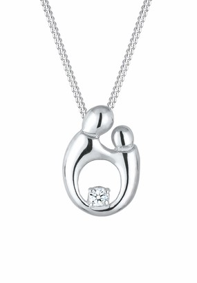 Diamore Women's 925Sterling Silver Rhodium Plated 0.03 ct Diamond Round Cut Necklace of Length 45 cm