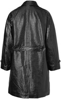 Burberry Coated Cotton Rushcom Coat with Fur Lining in Black
