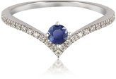 Forzieri V-Shaped Diamonds Band Ring with Natural Round Sapphire