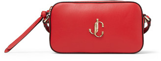 Jimmy Choo HALE Royal Red Smooth Leather Cross-Body Bag with JC Emblem