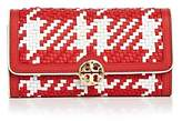 Tory Burch Duet Woven Envelope Leather Wallet