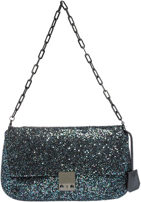 Anya Hindmarch Blue Glitter and Leather Flap Chain Shoulder Bag