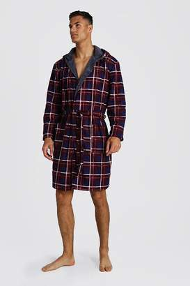 boohoo Check Print Hooded Flannel Robe