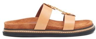Altuzarra Rosko Chain And Leather Slides - Womens - Beige