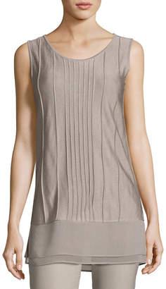 Nic+Zoe Plus Size Textured Chiffon-Trim Tank, Light Beige