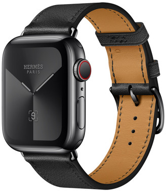 Apple Watch Herms GPS + Cellular 40mm Space Black Stainless Steel Case with Noir Swift Leather Single Tour