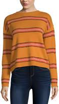 Arizona Juniors Womens Crew Neck Long Sleeve Striped Pullover Sweater