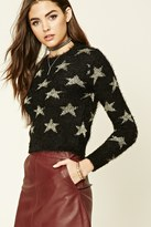 Forever 21 FOREVER 21+ Star Pattern Fuzzy Knit Sweater