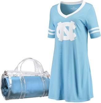 Unbranded Women's Carolina Blue North Carolina Tar Heels Football Jersey Night Dress & Mini Duffel Bag Set