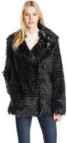 GUESS Women's Long Sleeve Anna Faux Fur Jacket
