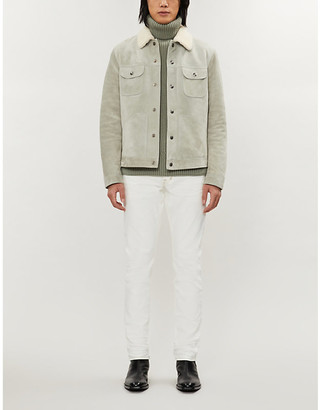 Tom Ford Shearling-trimmed regular-fit suede jacket