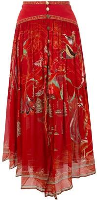 Camilla Silk Asymmetric Midi Skirt