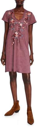 Johnny Was Plus Size Kira Draped V-Neck Short-Sleeve Jersey Dress