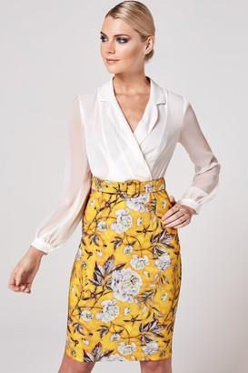 Paper Dolls Anjo Mustard Floral-Print Belted Shirt Dress