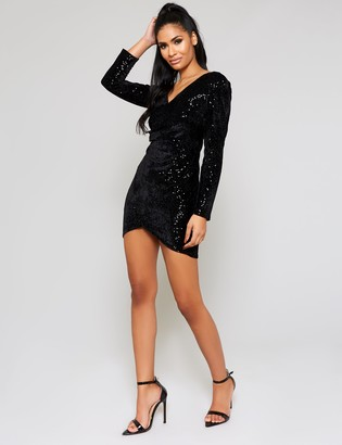 Public Desire Uk Off Shoulder Velvet Sequin Blazer Dress