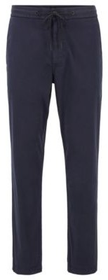 BOSS Tapered-fit drawstring trousers in stretch-cotton twill
