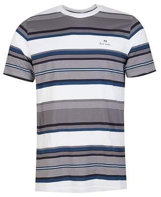 Paul Smith Multi Stripe T-shirt Colour: GREY WHITE, Size: SMALL
