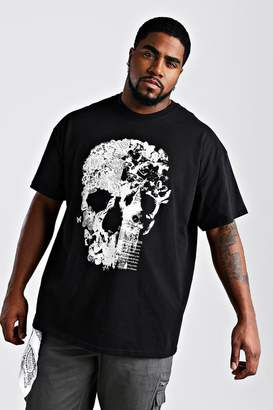 BoohoomanBoohooMAN Mens Black Big And Tall Floral Skull Print T-Shirt, Black