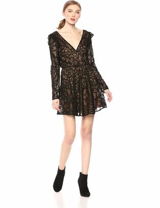 Ali & Jay Women's Sweet Heart Lace Wrap Blouson Short Mini Dress