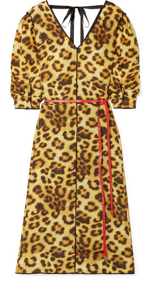 Marc Jacobs Belted Leopard-print Taffeta Dress - Leopard print