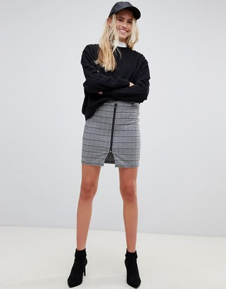 Pieces Dina check pencil skirt-Gray