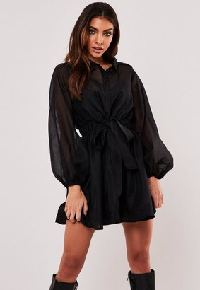 Missguided Black Organza Long Sleeve Skater Shirt Dress