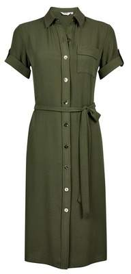 Dorothy Perkins Womens Petite Khaki Utility Shirt Dress