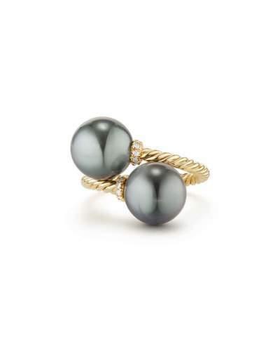 David Yurman Solari 18k Tahitian Pearl Bypass Ring w/ Diamonds, Size 8