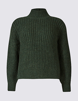 M&S Collection Ribbed Funnel Neck Jumper