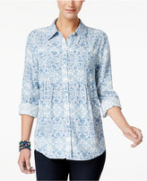 Style&Co. Style & Co Petite Westward Printed Shirt, Only at Macy's